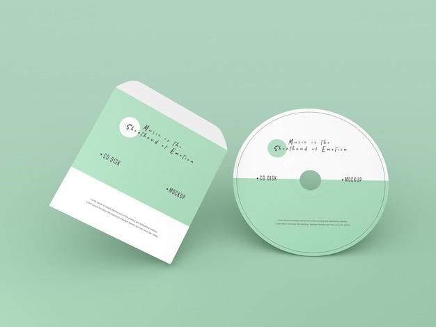 カバーとコンパクトディスクのモックアップ 無料 Psd