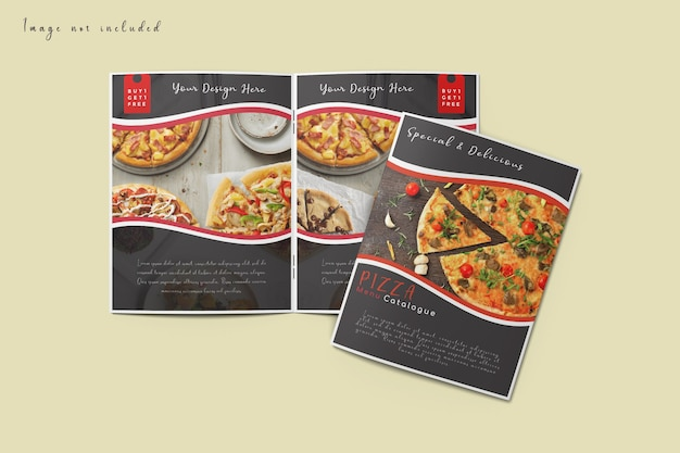 Обложка и макет открытой брошюры, изолированные на виде сверху