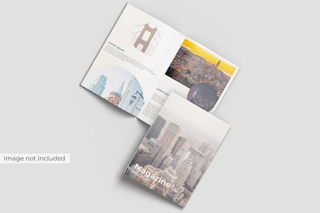 표지 및 열린 잡지 모형 전면보기