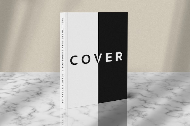 Cover book standing mockup on marble floor