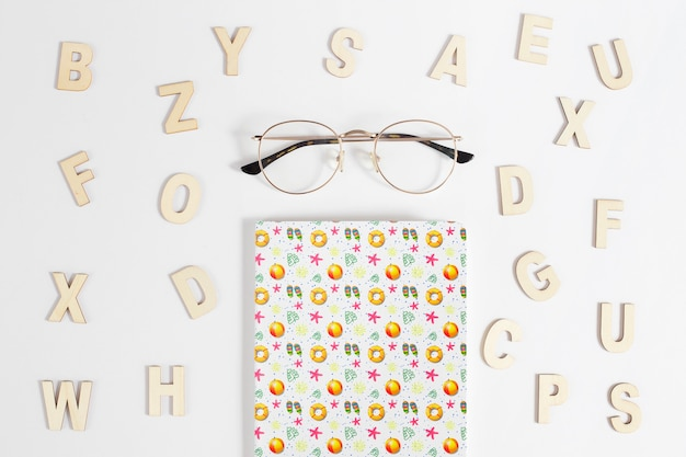 Cover mockup with alphabet