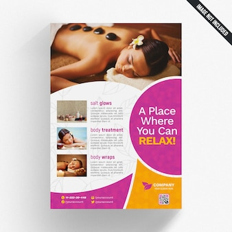 Cover mockup with spa concept and round shapes