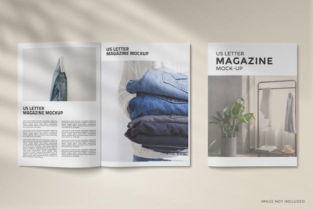 Cover and opened magazine mockup design