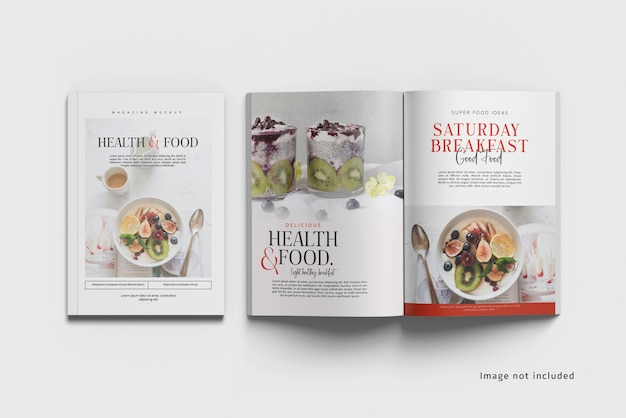 Cover and opened magazine mockup top angle view