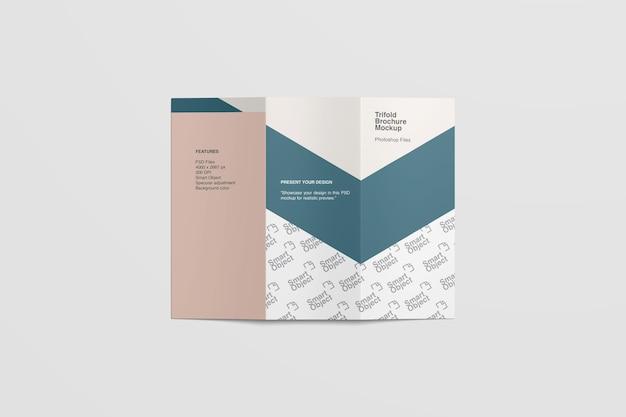 Copertina di brochure a tre ante mockup vista dall'alto