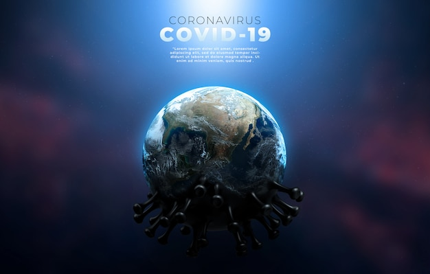 Covid-19、伝染性ウイルスの構造を示すコロナ病感染医療イラスト。