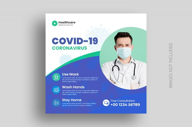 Covid-19 coronavirus social media bannner with medical healthcare