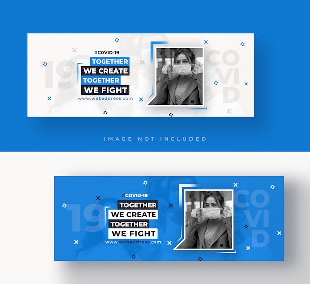 Covid-19 facebook cover or web banner template