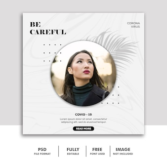 Covid 19 social media banner template instagram, be careful smile girl