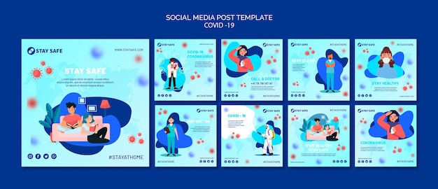 Covid-19 social media posts template with illustration