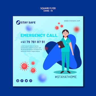 Covid-19 square flyer template with illustration