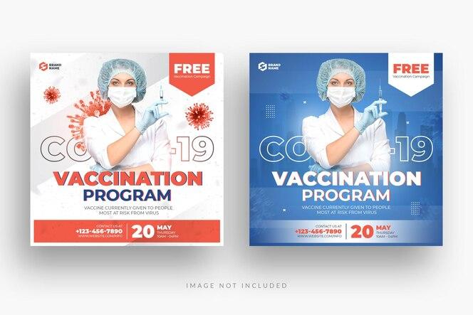 covid 19 예방 접종 소셜 미디어 게시물 및 웹 배너