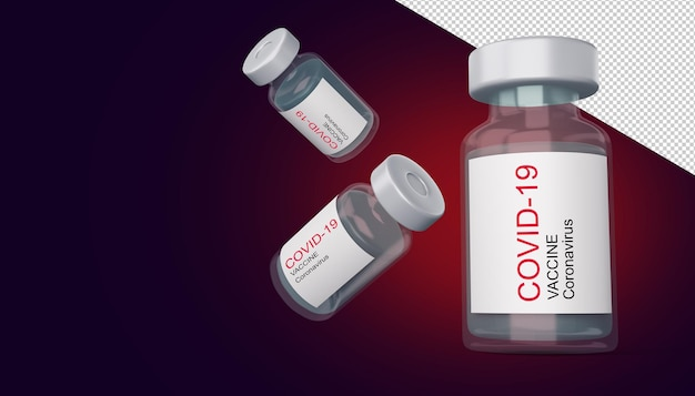 Бутылка вакцины covid-19, вакцина против коронавируса, иллюстрация 3d-рендеринга