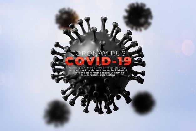 Covid-19, медицинская иллюстрация инфекции коронарной болезни, показывающая структуру эпидемического вируса. заражение и распространение болезнетворного возбудителя гриппа кишечные.