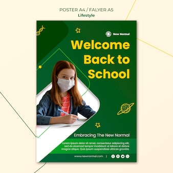 Covid lifestyle poster and flyer design template