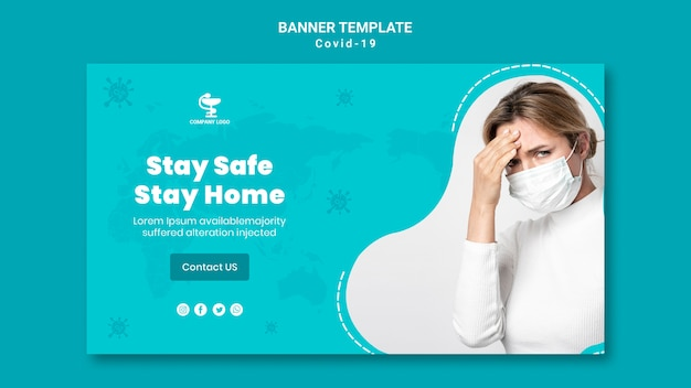Covid19 concept banner template