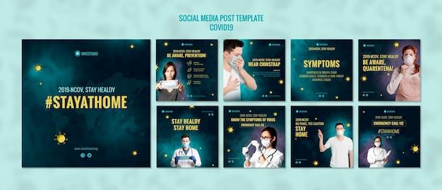 Modello di post sui social media covid19