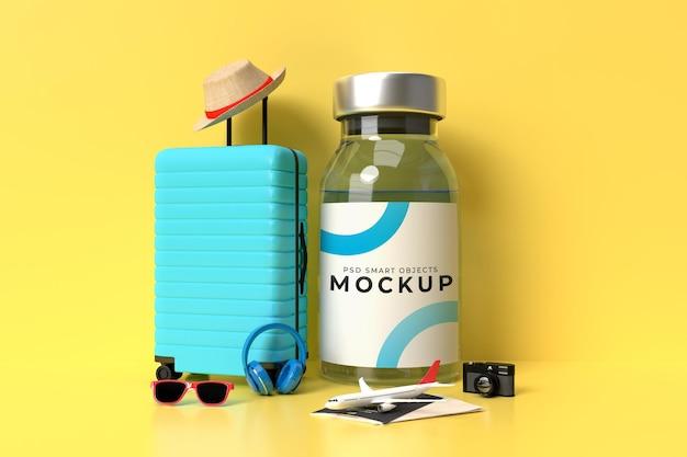 Шаблон макета вакцины covid19 с аксессуарами для путешественников для больничной клиники