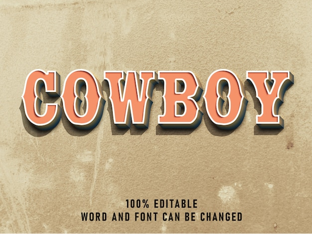Cowboy vintage text style effect color with grunge style retro