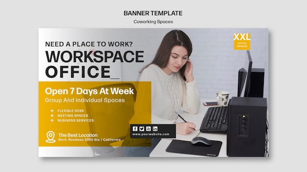 Coworking office space banner template