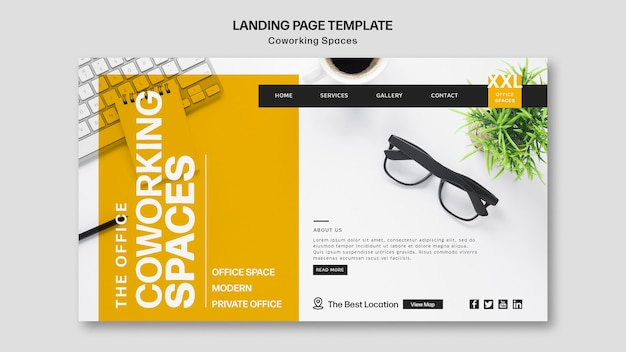 Coworking office space landing page template