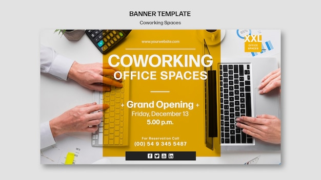 Coworking office space template banner