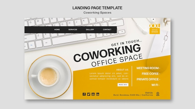 Coworking office space template landing page