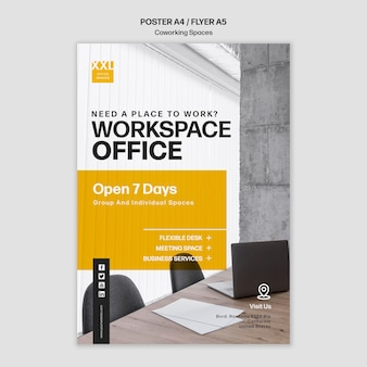 Coworking office space template poster