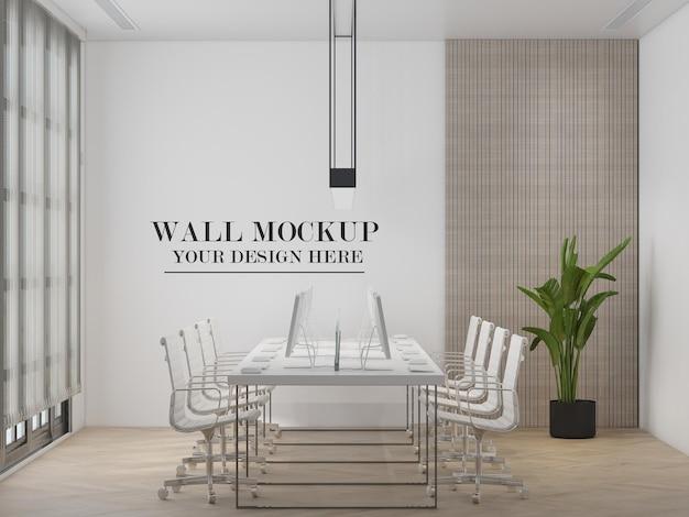 コワーキングオフィススペースの壁のモックアップ
