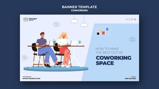 Modello di banner orizzontale di spazio di coworking