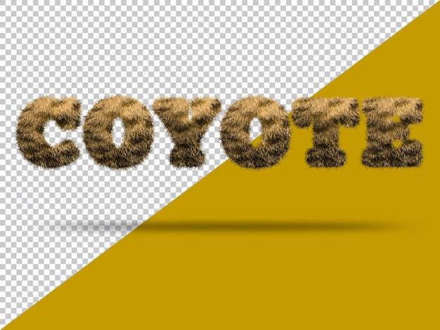 Текст койота с реалистичным 3d мехом