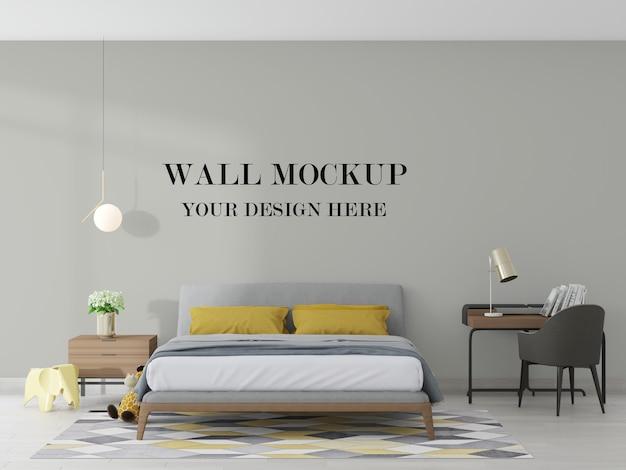 3dレンダリングで居心地の良いモダンなベッドルームの空白の壁のモックアップ