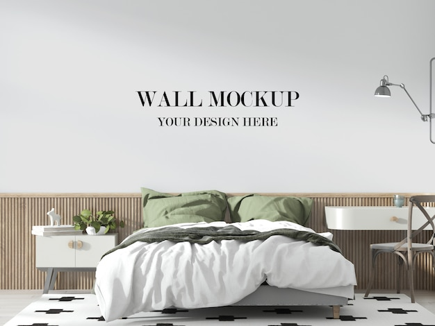Cozy bedroom wall mockup with furniture and pillows