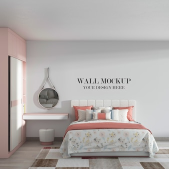 Cozy bedroom wall mockup with pink white furniture