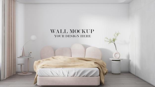 Cozy bedroom wall template in 3d rendering