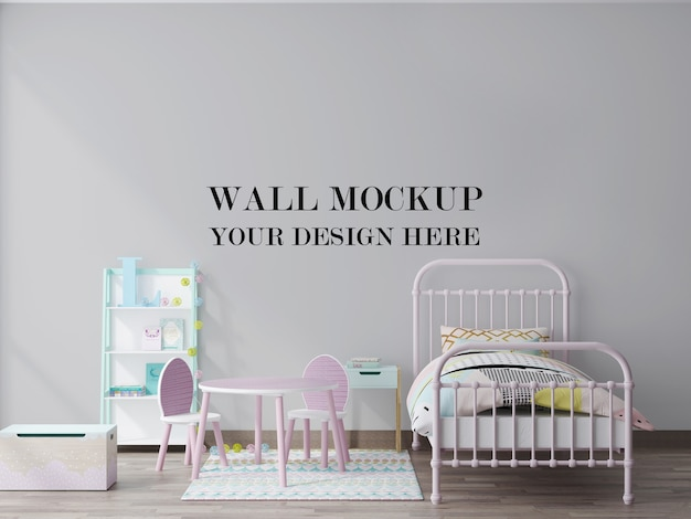 Cozy child room empty wall background 3d rendering mockup