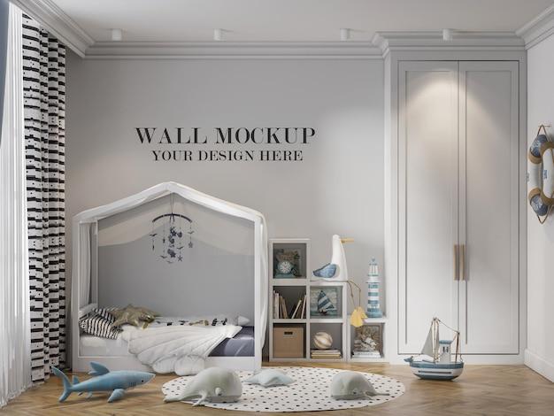 Cozy child room wall mockup in 3d scene