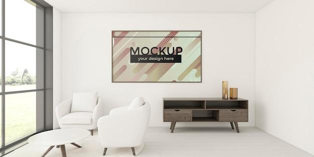 Accogliente sistemazione a casa con cornice mock-up