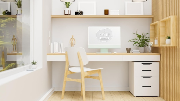 Cozy home office room interior design with computer decorations and wooden furniture 3d rendering