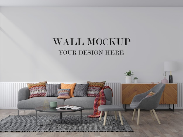 Cozy living room wall mockup behind grey sofa
