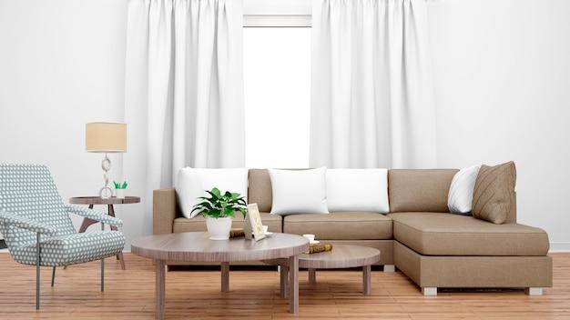 茶色のソファ、センターテーブル、大きな窓のある居心地の良いリビングルーム