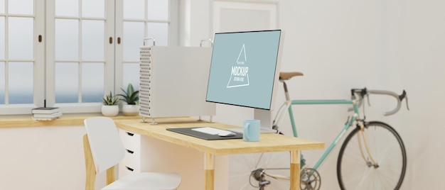 Cozy minimal japanese home office design with desktop computer wooden desk bicycle and copy space