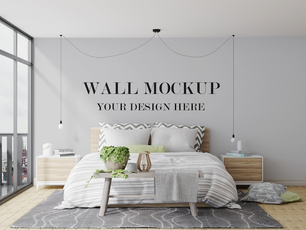 Cozy and modern bedroom wall mockup