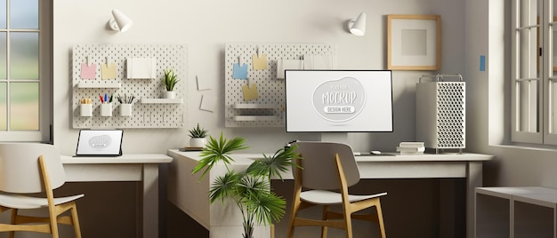 Cozy office interior design with computer and digital tablet mockup