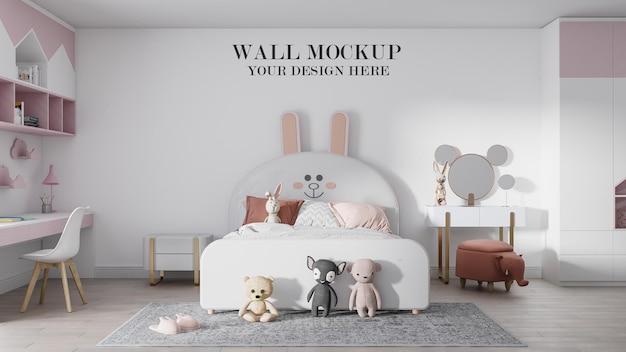 Cozy pink white kids bedroom wall mockup