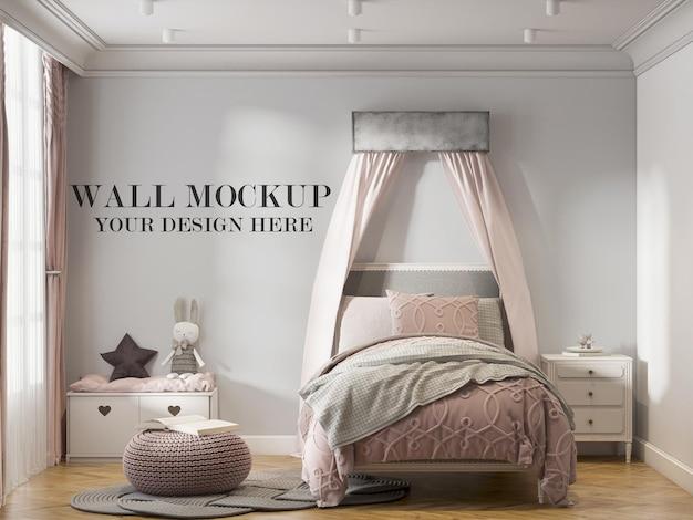 Cozy teenage girl bedroom wall mockup