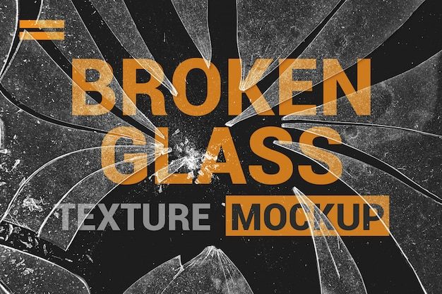 Cracked glass on poster mockup