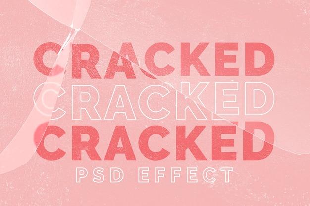 ピンクの背景にひびの入ったガラスpsd効果のモックアップ