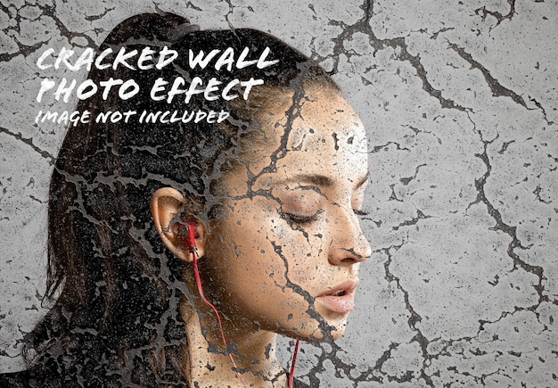 Cracked wall photo effect mockup