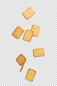 Cracker cookies falling isolated